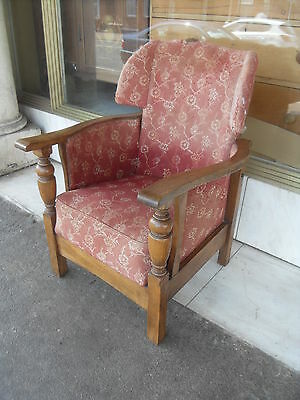 Vintage Oak Reclining Armchair / Vintage Oak Upholstered Chair
