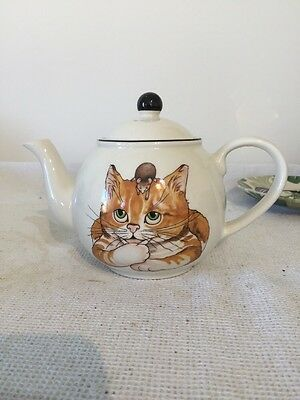 Arthur Wood Back To Front Ginger Cat And Mouse 1 Pint Teapot