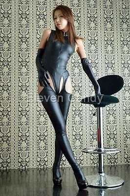 Sexy Women Leather Party Catsuit Bodysuit Crotchless Clubwear Jumpsuit Outfits