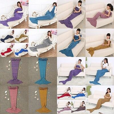 Creative Handmade Mermaid Tail Adult Size Soft Kintted Rug Best Gift Blanket Rug