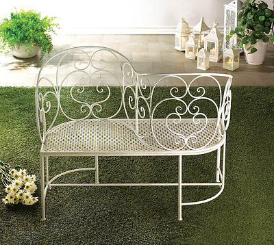 White Metal Romantic Couple Bench Chair Garden Patio Deck Yard Seat Seating
