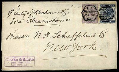 LATE FEE: Transatlantic Packet Mail: 1882 K8(2) 1d Bluish Lilac & SG169 5d