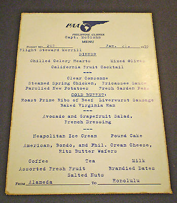 Pan Am Airways Philippine Clipper Menu Dated 1939,  Alameda to Honolulu, Superb.