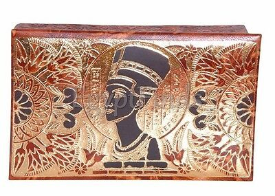 Egyptian Ethnic Hand Made Queen Nefertiti Genuine Leather Trinket Jewelry Box