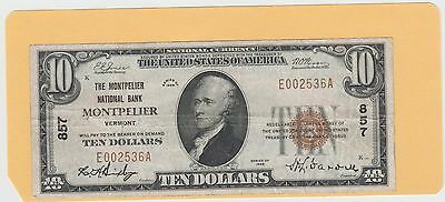 $10 Montpelier National Bank Vermont,1929 Series Type1  Charter #857