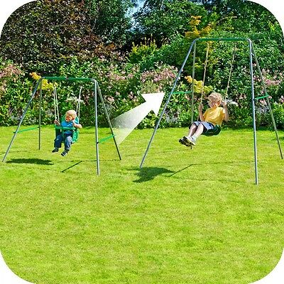 Outdoor Garden Baby Child Childrens Toddler Metal Swing Set Play Toys Seat 2in1