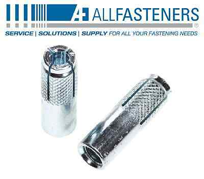 "Allfasteners 1/4"" x 1"" Knurled Drop In Anchor Dropin 1DAZ14 100-Pack"