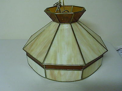 Vintage 8 Panel Stained Glass Hanging Light