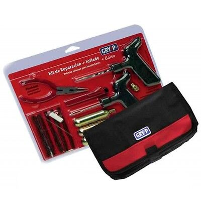 Gryyp Tubeless Tire Repr Kit (Car/MC) 5 Ropes + HD Tools + 3x CO2 + Pouch