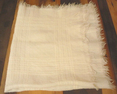 Vintage Baby Blanket Christening Outting Natural Cream Textured Wool? Shawl