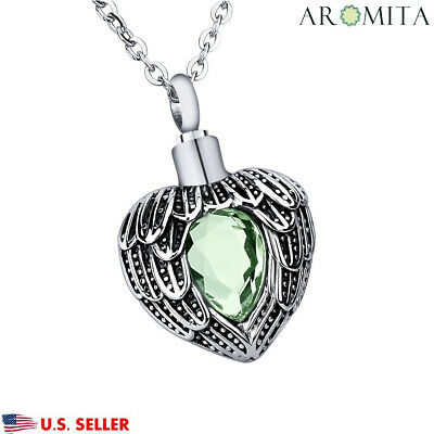 August Peridot Heart Cremation Jewelry Keepsake Memorial Urn Necklace Ash Holder