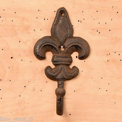 "LARGE FLEUR DE LIS WALL COAT HOOK ~ Cast Iron ~ Vintage Wall Decor {8""} ~ by PLD"