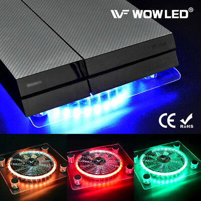 USB RGB LED PC Cooler Cooling Fan Pad Mini Controller Stand for PS4 Playstation