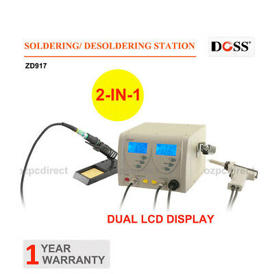 DOSS ZD917 2IN1 Soldering Desoldering Station Dual LCD Display Screen AU SHIP