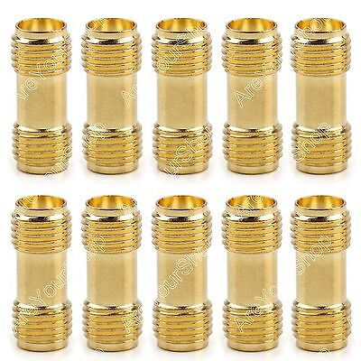 10Pc Adapter SMA Female To SMA Female Jack RF Connector Straight F/F