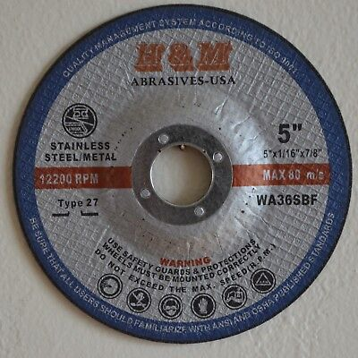 """25 5"""" x1/16""""x7/8"""" CUT-OFF WHEELS for STAINLESS STEEL & METAL CUTTING DISC T27"""