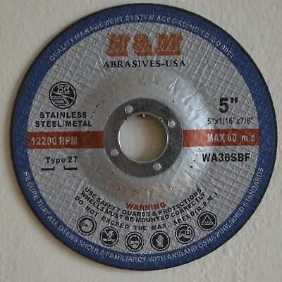 """25pcs New 5""""x1/16""""x7/8"""" CUT-OFF WHEEL for Stainless Steel & Metal / Type 27"""