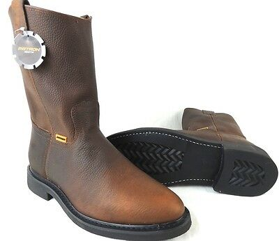 Men's Work Boots Genuine Leather Pull On Brown Color Safety Western Botas