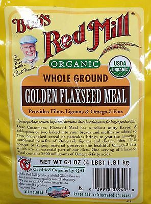 64oz Organic Whole Ground Golden Flaxseed Meal Bob's Red Mill Gluten Free