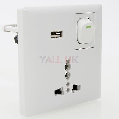 Surge Protected Universal Wall Power Supply Socket 3 Pin Plug 1 Switch +USB Port