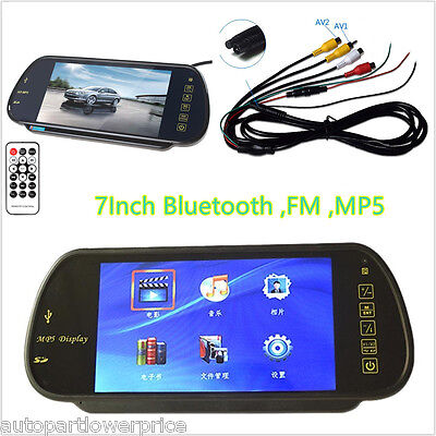 HD 7'' TFT Color LCD Car Rear View Mirror Monitor Wireless Bluetooth MP5 SD USB