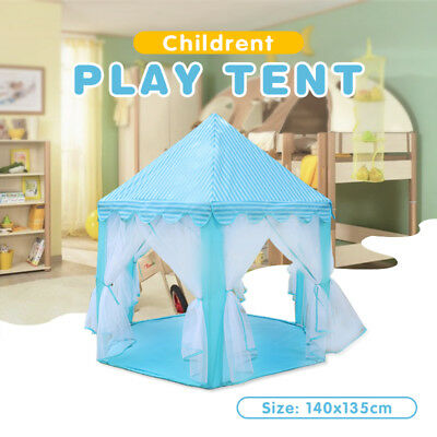 Blue Children Pop Up Play Tent Princess Playhouse Wigwam Indoor Outdoor Party
