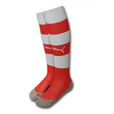Arsenal FC Puma red white home mens adult hooped football socks 2014-15 3 sizes