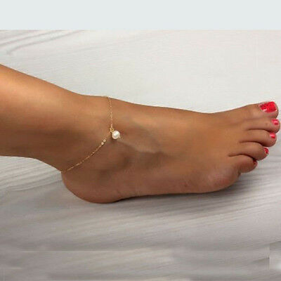 Cool Lady Pearl Bead Gold Ankle Chain Anklet Bracelet Foot Jewelry Sandal Beach