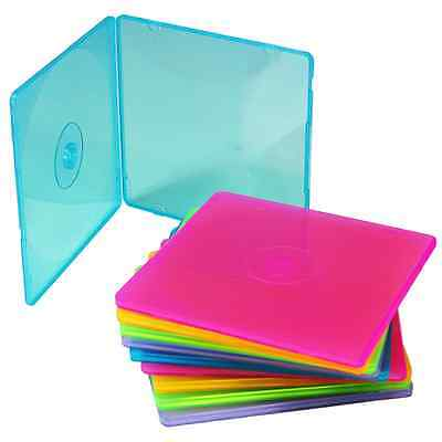 PACK OF 10 COLOURED CD SHELL CASES - SUPER THIN 5mm