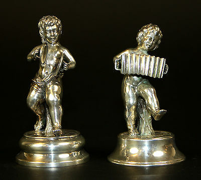 Musicians Couple Of Children. Sterling Silver. Chiseled. Spain. Circa 1950.