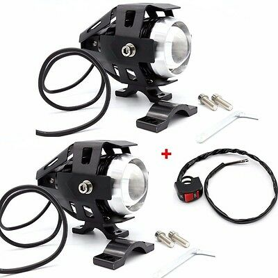 2x 125W Motorcycle Motorbike LED Headlight Driving Fog Spot Lights+Switch UKship