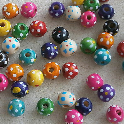 50 Wooden Round Dotty Flower Beads ~ 10mm ~ Lead Free ~ Little Crafty Beaders