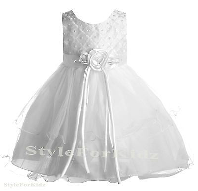 Baby Girls White Dress Christening Wedding Bridesmaid Flower Girl Party Dresses