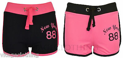 Girls New York 88 Print Drawstring Draw Cord Mini Tie Gym Casual Summer Hotpants