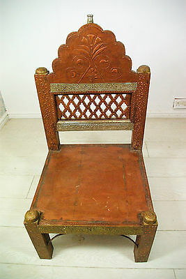 Handcarved teak wooden low chair from 1980s
