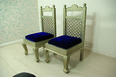 Set of 2 Indian white metal embossed chairs with blue velvet seating pads