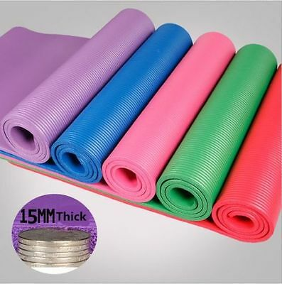 YOGA MAT EXERCISE  WEIGHT LOSS EXERCI PILATES OUTDOOR NON SLIP 15mm THICK UK Hot