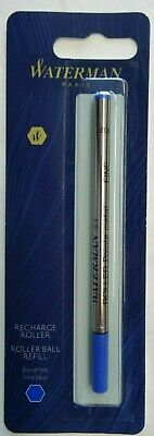 1 Pack Waterman Rollerball Pen Refill, Fine Point, Blue Ink - NEW