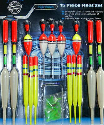 Fishing Float Set 15 Piece Angling High Visibility Avon And Waggler Floats