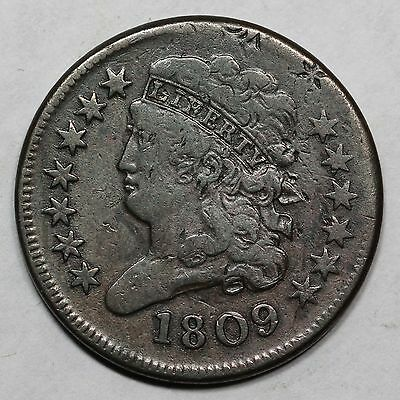 1809 C-3 Double Struck Over O/C Obv Brockage Classic head Half Cent Coin 1/2c