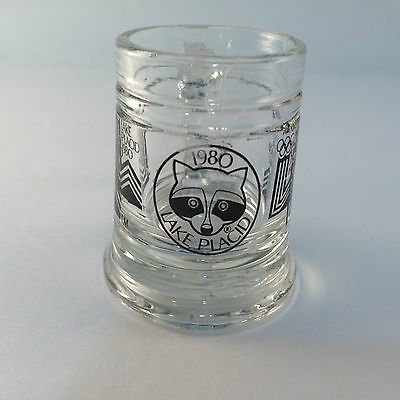 Olympic Souvenirs  Lake Placid USA 1980 Stein Shot Glass HTF Olympic Support VTG