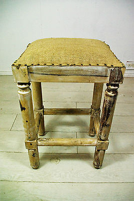 Woven fabric and mango wood barstool