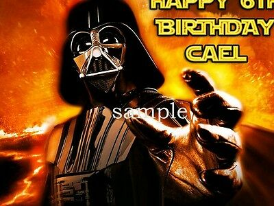 Darth Vader Edible Birthday CAKE Image Icing Topper FREE SHIPPING