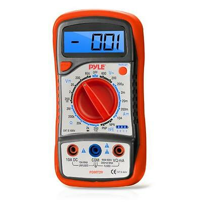 New Pyle PDMT29 Digital LCD Multimeter Range W/ Rubber Case And Stand AC DC Volt