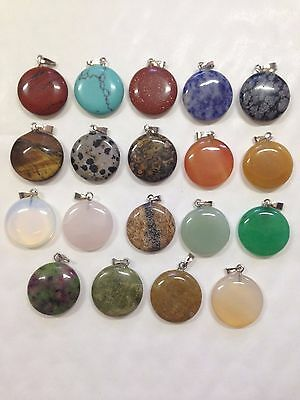 UK Seller Round Disc shaped Beautiful Cut polished stone charm pendant necklace