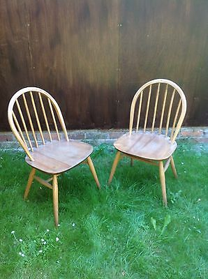 Vintage Ercol Windsor Chairs Pair 1877 6 Spindle Blonde Retro Mid Century Modern • £99.00