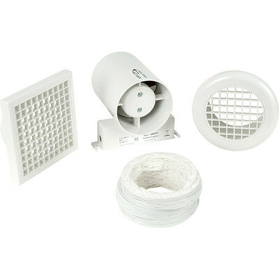 New 100mm Part L Inline Shower Extractor Fan Kit with Timer Each