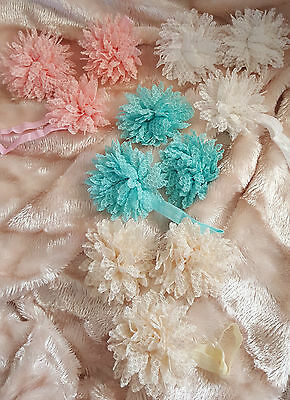 Baby Headband And Barefoot Sandals Set- Cream/ Ivory/ Pink/ Turquoise