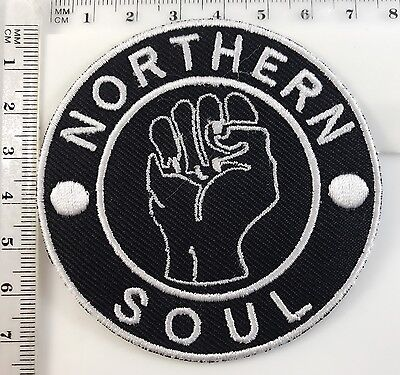 BLACK NORTHERN SOUL FIST - SEW OR IRON ON BIKER MOTORCYCLE PATCH No-4
