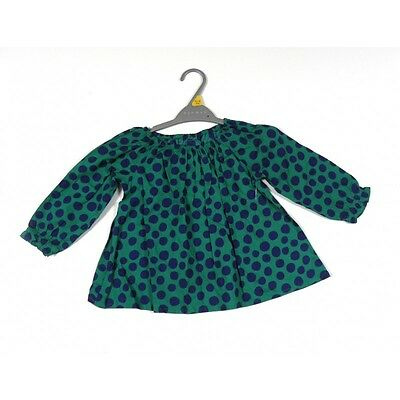 Bnwot Girls Nutmeg Cotton Navy Blue & Green Spotted Top Ages 2 - 3 & 3 - 4 Only